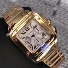 501卡地亚.山度士全包18k黄金B346311950008 钢带 机械男表真金真钻手表